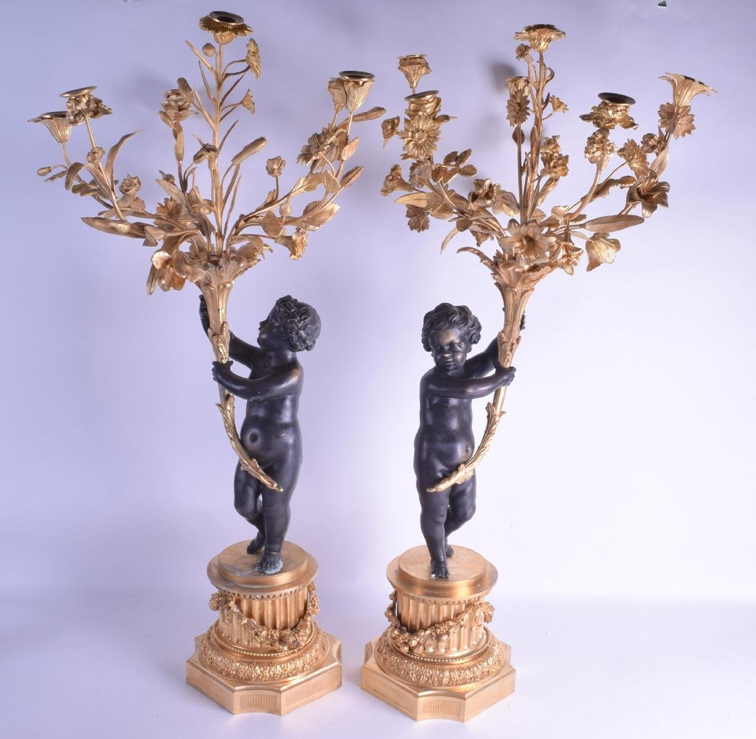 A LARGE PAIR OF CONTEMPORARY BRONZE AND ORMOLU