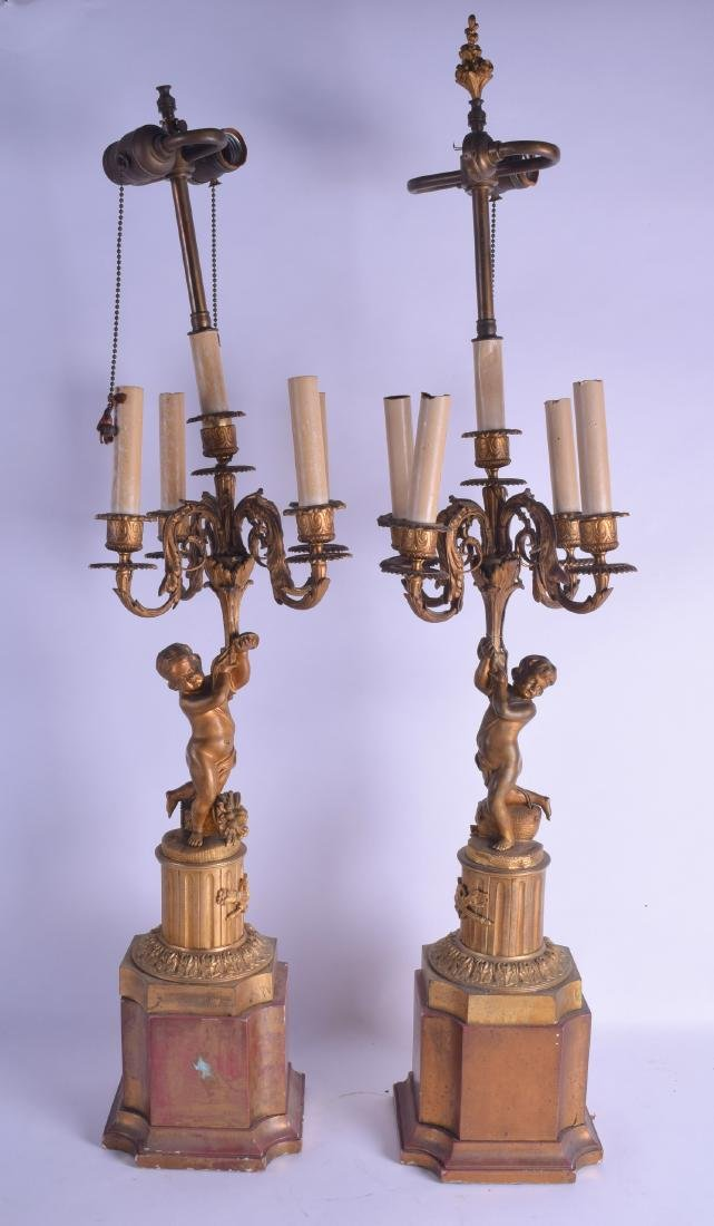 A PAIR OF 19TH CENTURY FRENCH BRONZE AND CARVED WOODEN