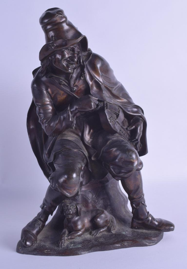 A 19TH CENTURY CONTINENTAL BRONZE FIGURE OF A MALE