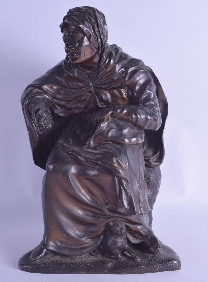 A 19TH CENTURY CONTINENTAL BRONZE FIGURE OF A FEMALE