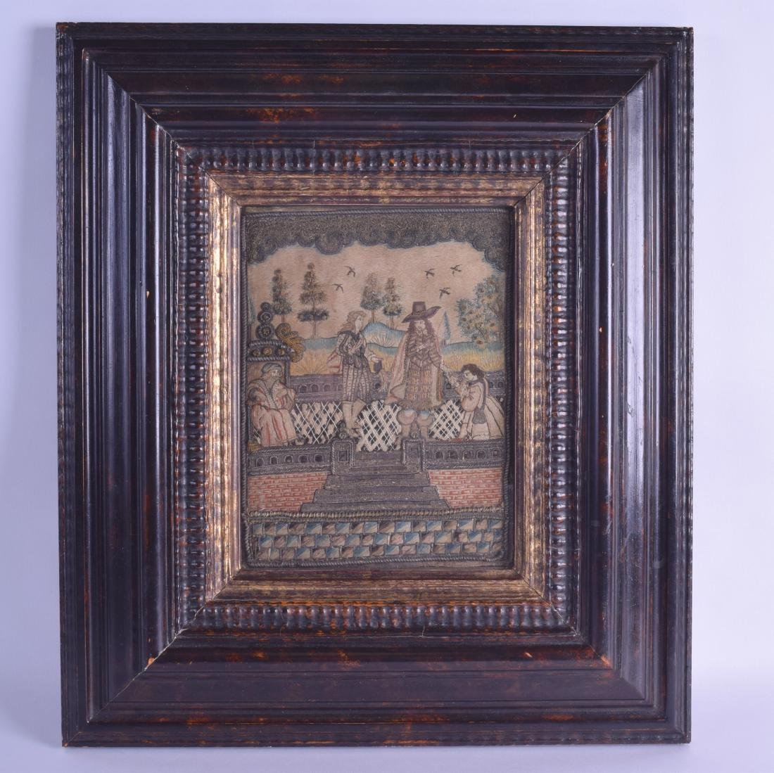 A GOOD 17TH CENTURY QUEEN ANNE FRAMED STUMPWORK PANEL