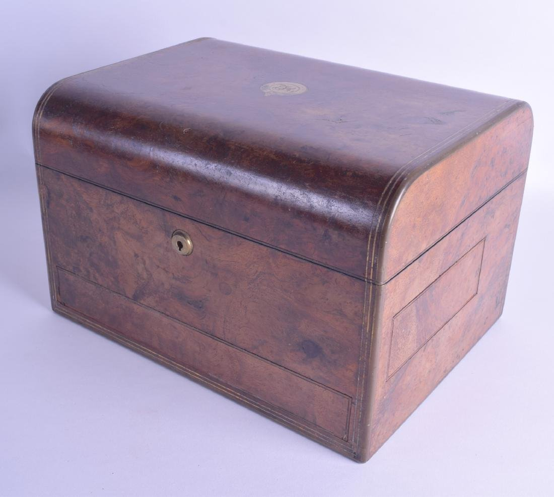 A GOOD VICTORIAN BRASS BOUND TRAVELLING BURR WALNUT