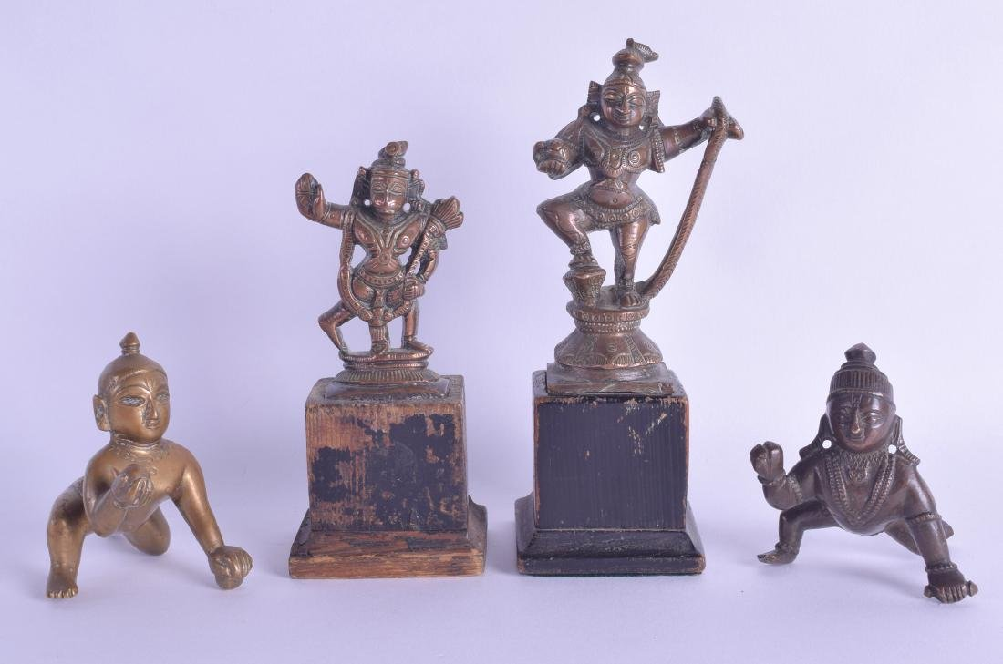 A GROUP OF FOUR 19TH CENTURY INDIAN BRONZE FIGURES in