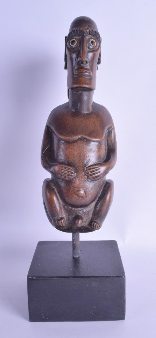 AN UNUSUAL EASTER ISLAND TRIBAL CARVED WOODEN FERTILITY