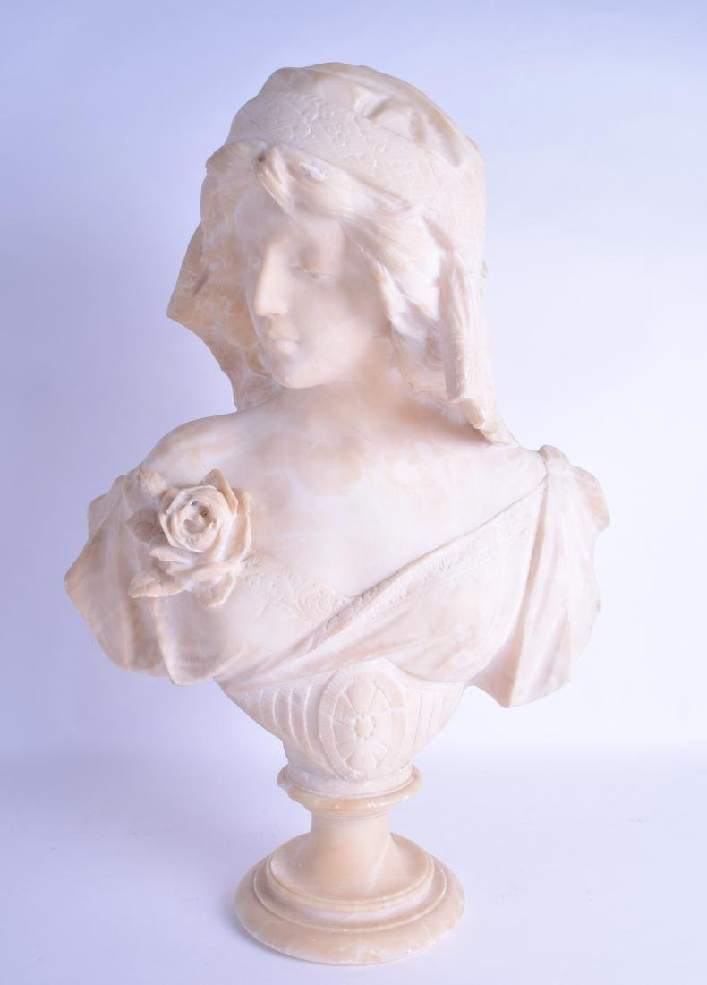 A LATE 19TH CENTURY CONTINENTAL CARVED MARBLE BUST ON