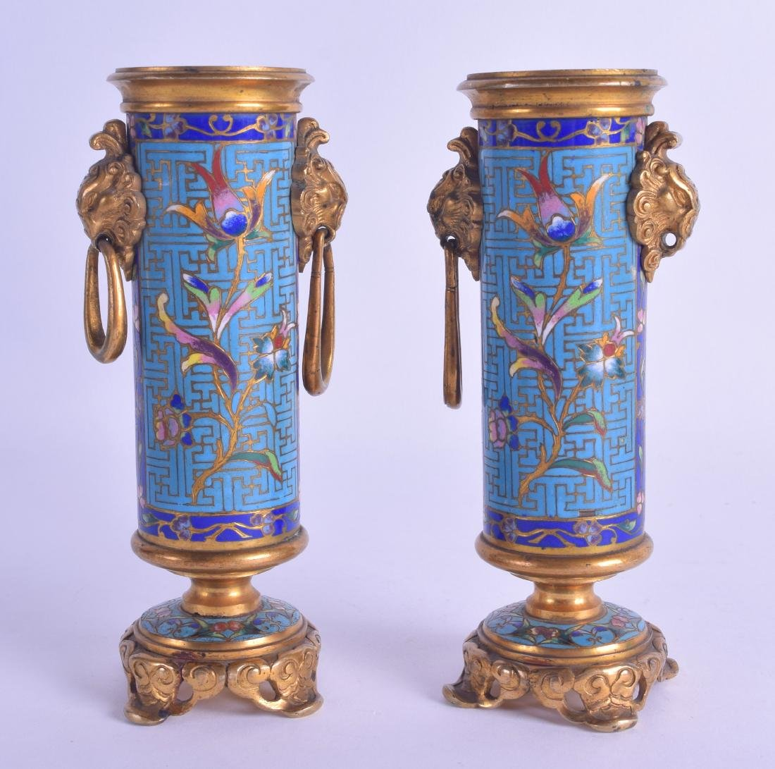 A FINE PAIR OF 19TH CENTURY FRENCH CLOISONNE ENAMEL