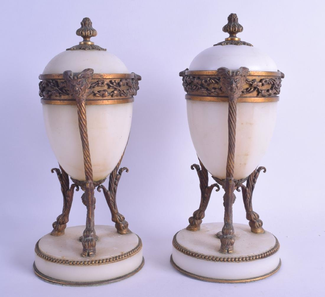 A PAIR OF MID 19TH CENTURY FRENCH ORMOLU MARBLE