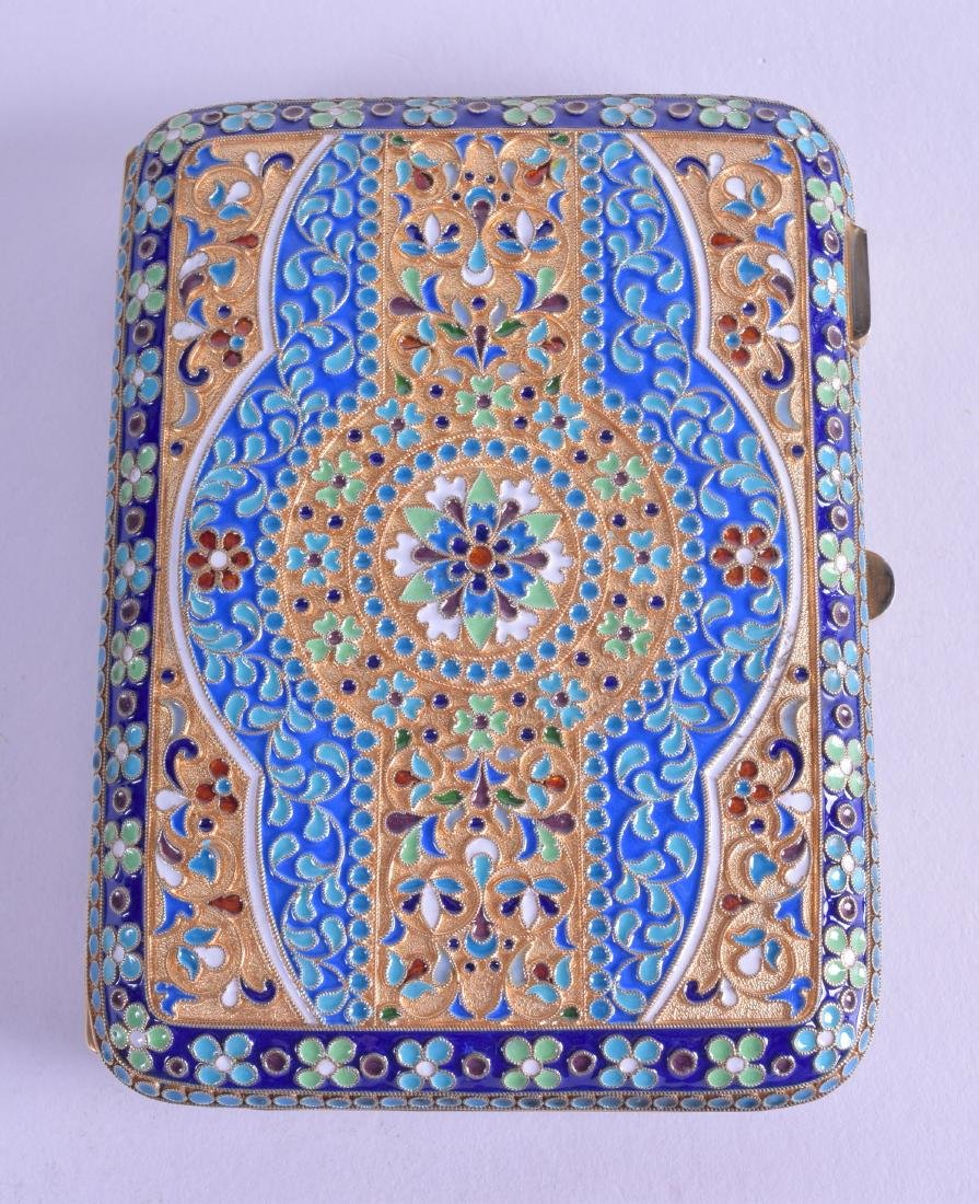 A LARGE RUSSIAN SILVER AND ENAMEL CIGARETTE CASE