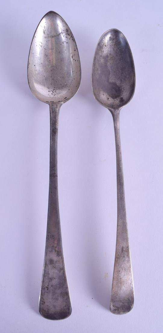 TWO GEORGE III SILVER SERVING SPOONS. 6.5 oz. 30 cm