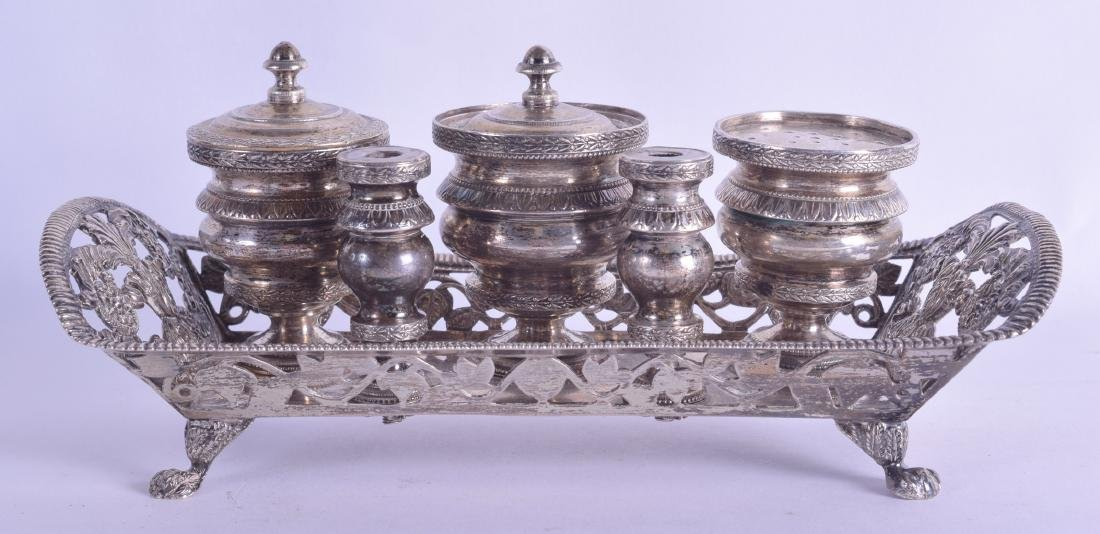 AN 18TH CENTURY CONTINENTAL SILVER INK DESK STAND with