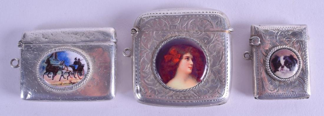 THREE ANTIQUE ENGLISH SILVER VESTA CASES. (3)