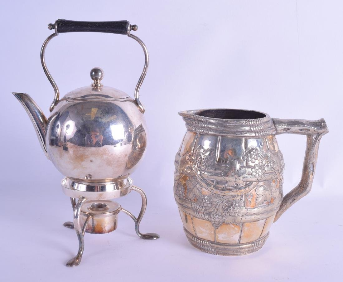 AN AESTHETIC MOVEMENT SILVER PLATED JUG together with