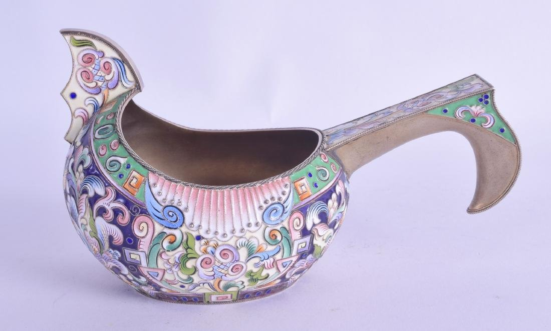A RUSSIAN SILVER CHAMPLEVE ENAMEL KOVSCH decorated with