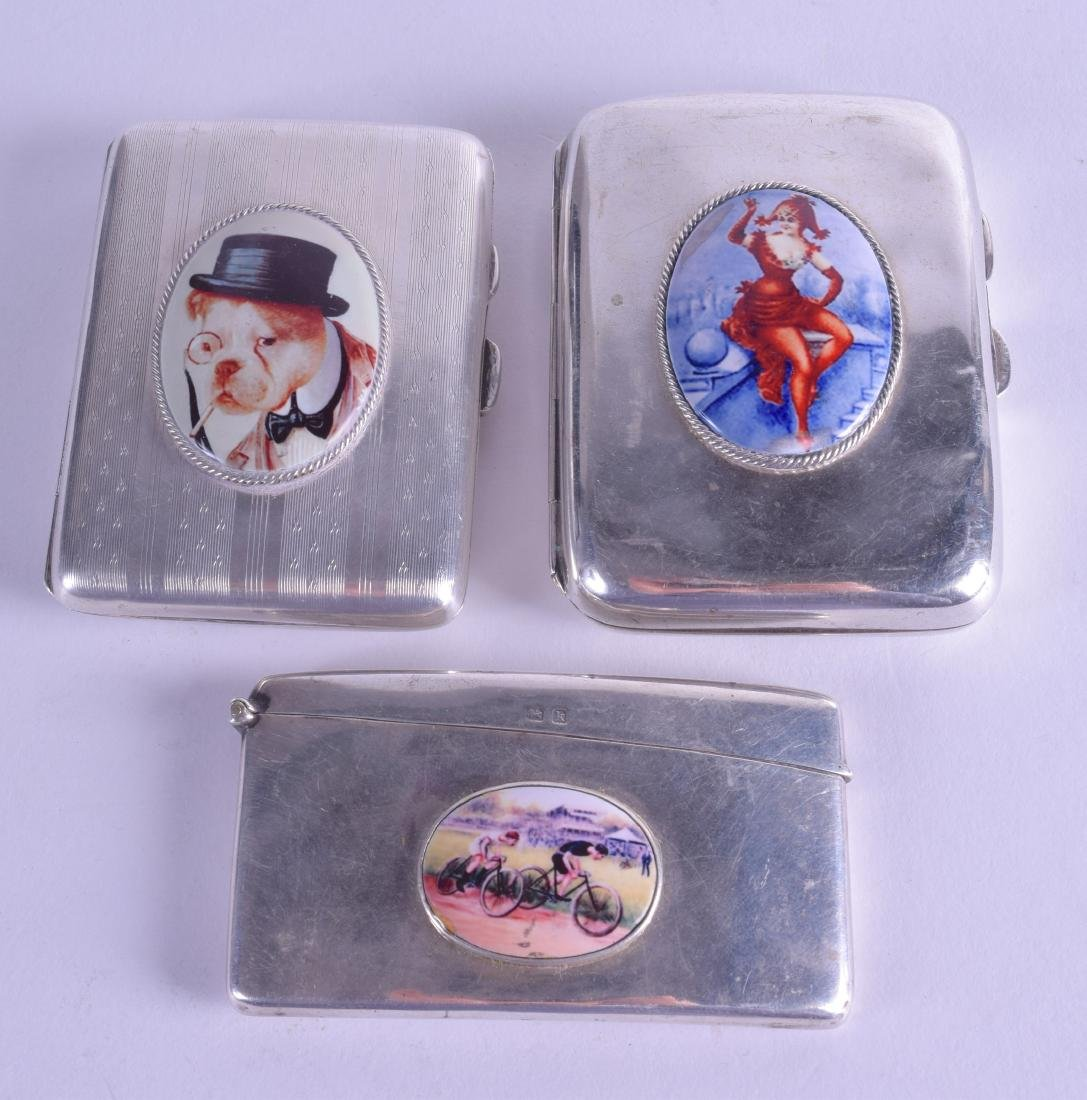 THREE ANTIQUE ENGLISH SILVER CASES. 7.5 oz. (3)