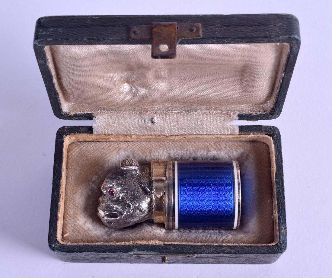 A BOXED RUSSIAN SILVER GILT AND ENAMEL SNUFF BOX AND