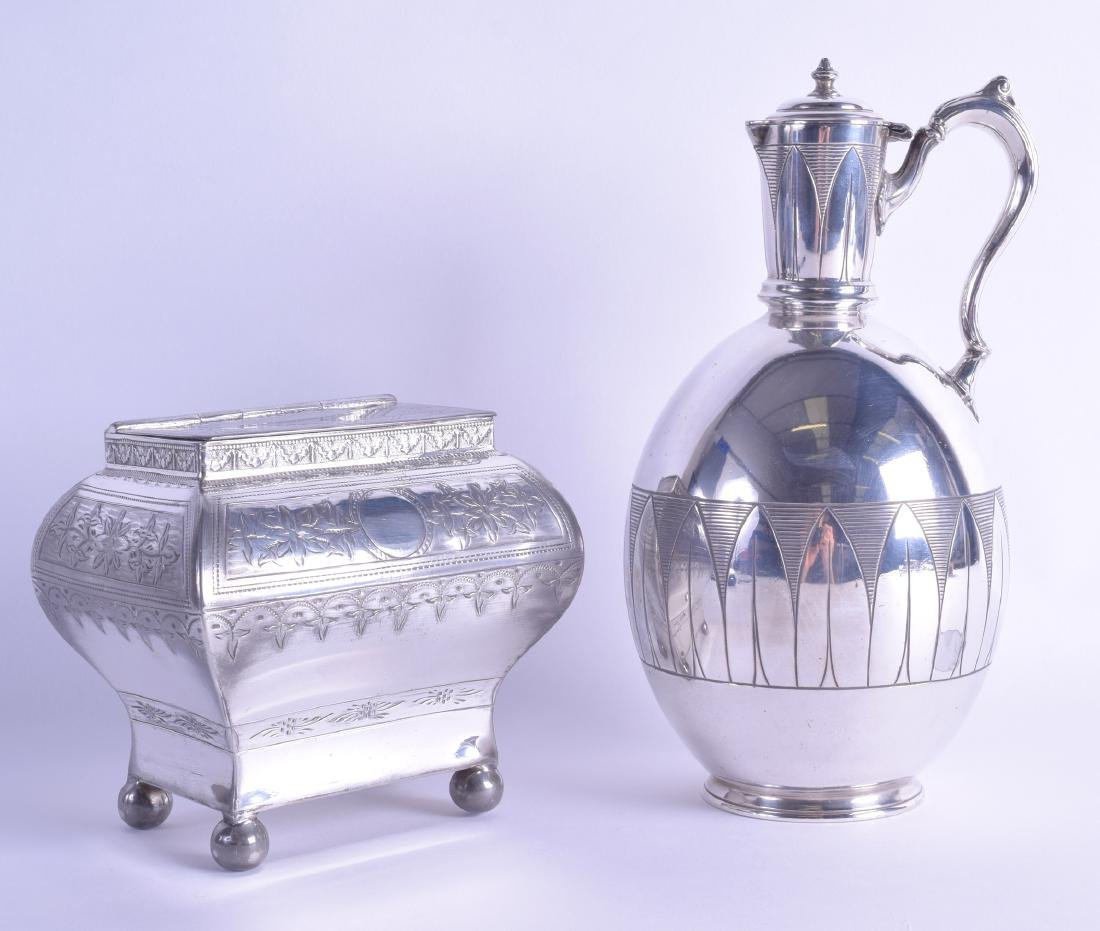 A LATE VICTORIAN SILVER PLATED TEA CADDY together with
