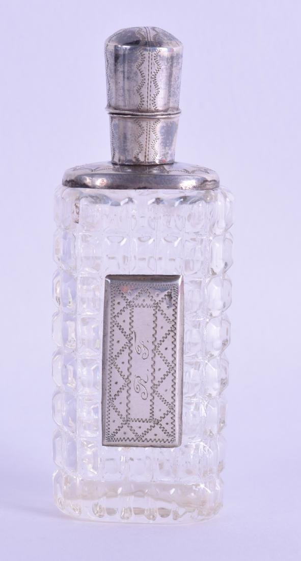 A 19TH CENTURY FRENCH SILVER TOPPED CUT GLASS SCENT