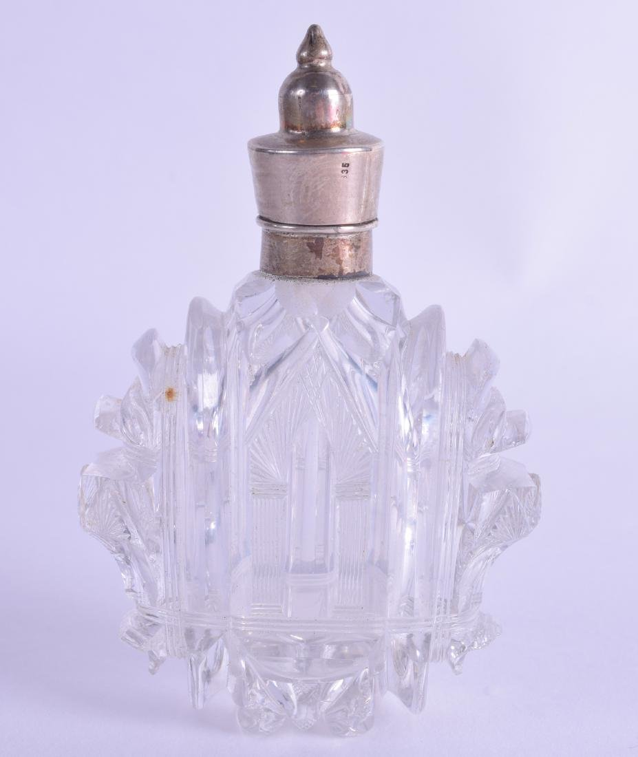 AN UNUSUAL 19TH CENTURY FRENCH SILVER TOPPED CUT GLASS