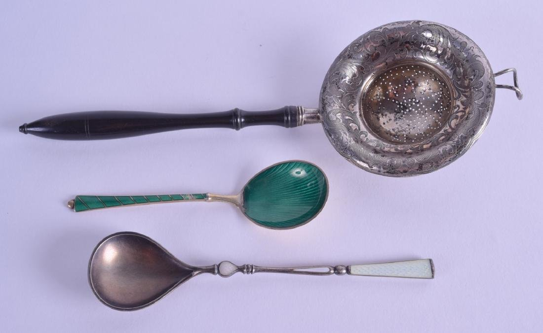 TWO ART DECO SILVER AND ENAMEL SPOONS together with an