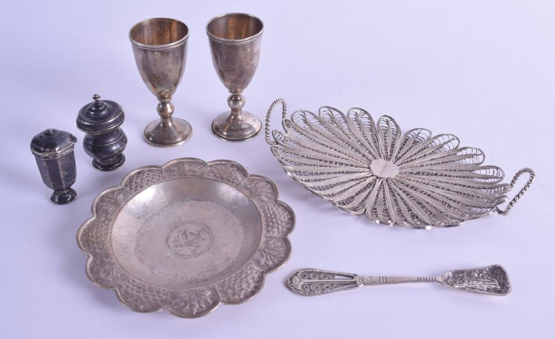 A GROUP OF ASSORTED ANTIQUE SILVER including a Maltese