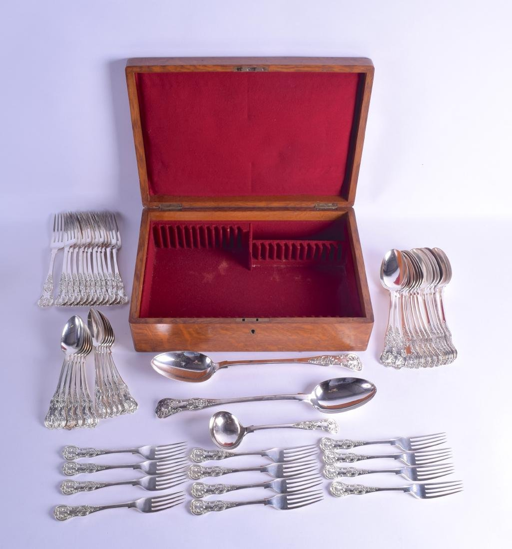 A STYLISH CANTEEN OF CUTLERY with shell capped