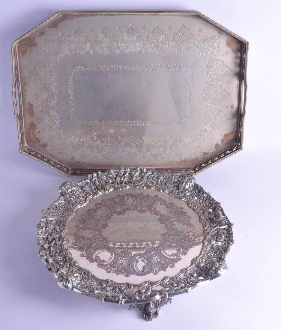 A LARGE ANTIQUE SILVER PLATED TEA TRAY engraved with
