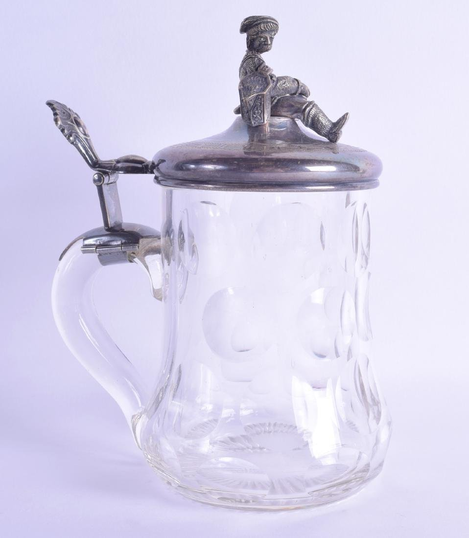 A LATE 19TH CENTURY CONTINENTAL WHITE METAL TOPPED