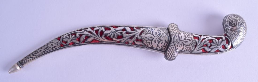 AN EARLY 20TH CENTURY SILVER INLAID MIDDLE EASTERN