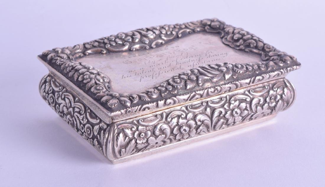 A MID 19TH CENTURY SILVER SNUFF BOX by Nathaniel Mills,