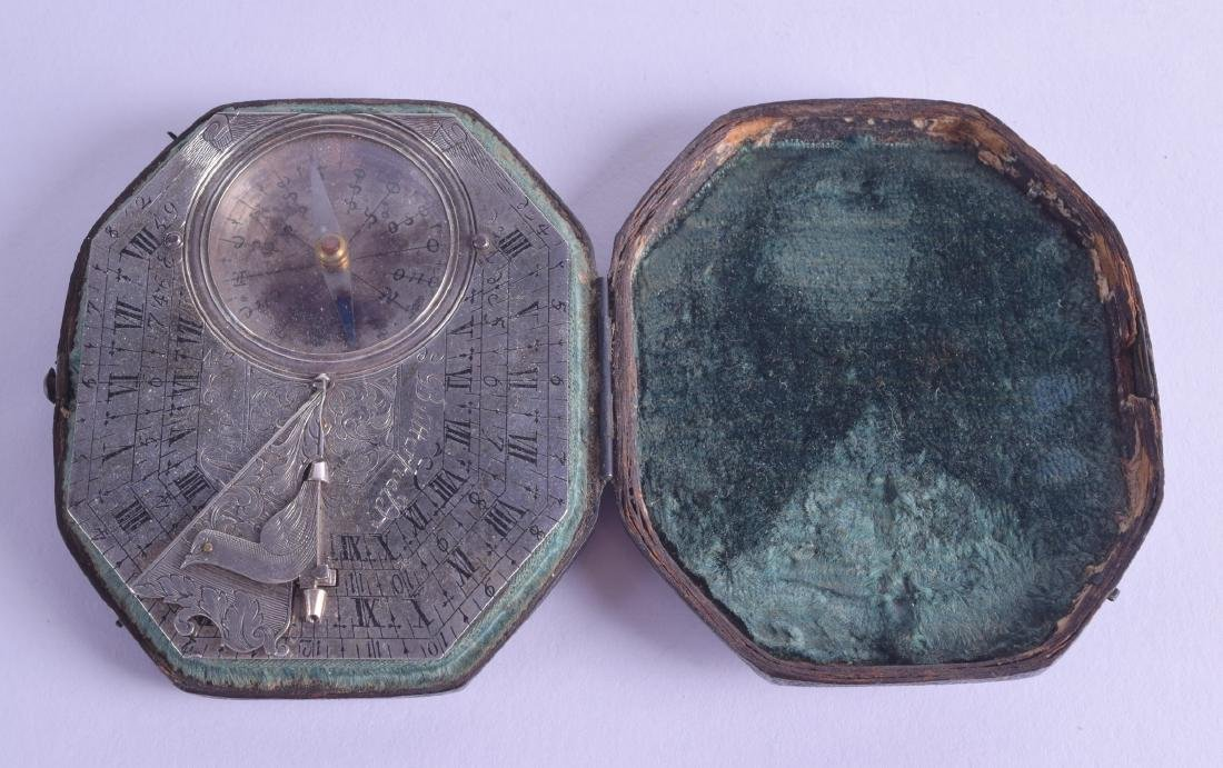 A FINE 18TH CENTURY FRENCH SILVER BUTTERFIELD COMPASS