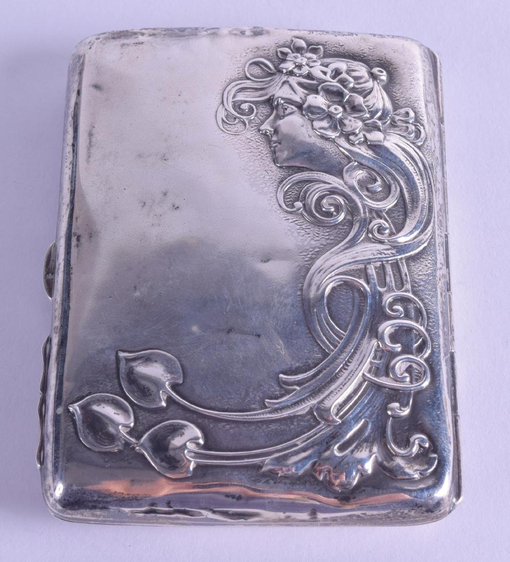 AN ART NOUVEAU ENGLISH SILVER AIDE MEMOIRE decorated in