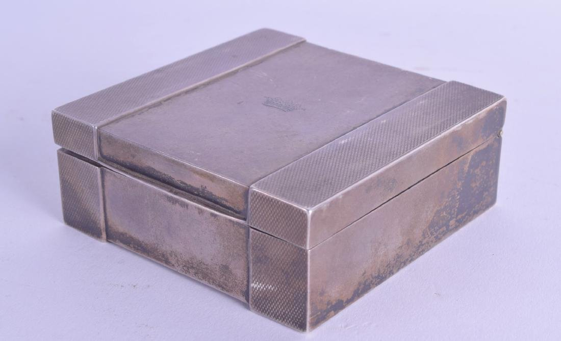 A SMALL 1930S SILVER CIGARETTE BOX retailed by Kirby