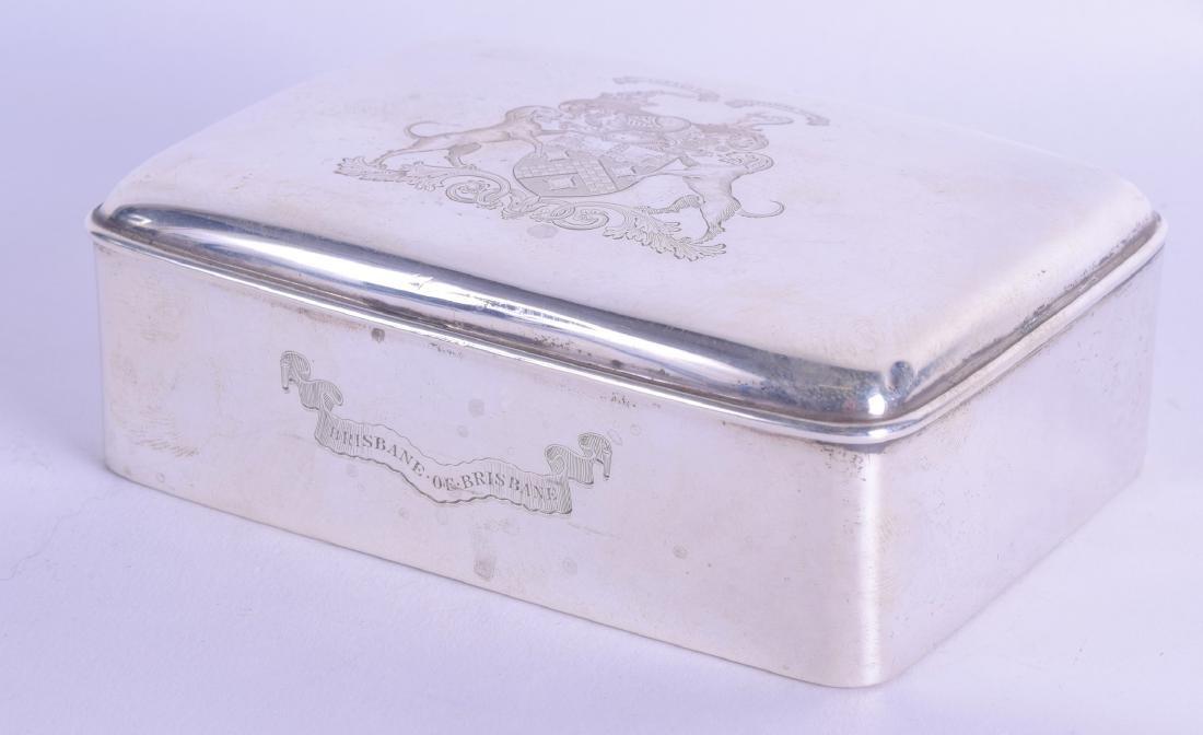 AN EDWARDIAN SILVER CRESTED CIGARETTE BOX. Birmingham