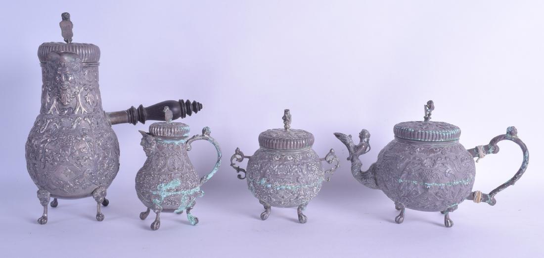 AN 18TH/19TH CENTURY DUTCH SILVER FOUR PIECE TEA SET