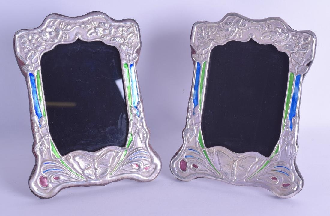 A PAIR OF STERLING SILVER AND ENAMEL FOLIATE PHOTOGRAPH