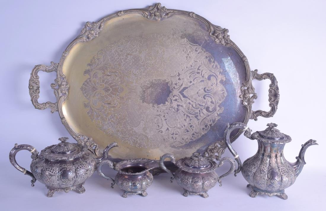 A LARGE  SILVER PLATED TEASET ON TRAY decorated with