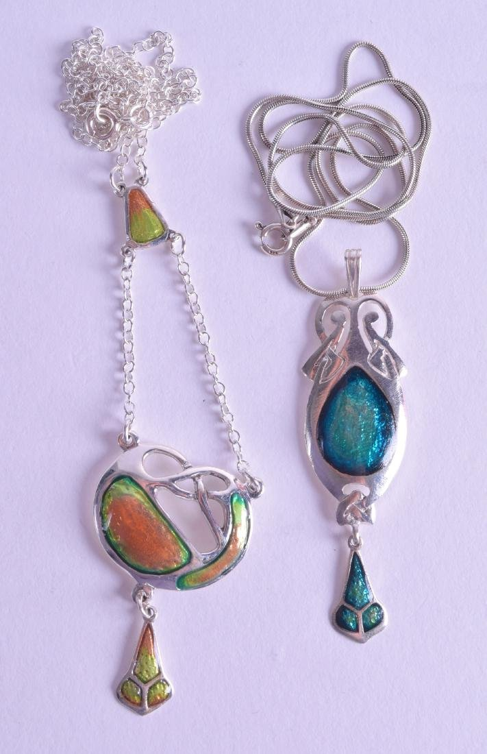 TWO SILVER AND ENAMEL STYLISH NECKLACES in the Art