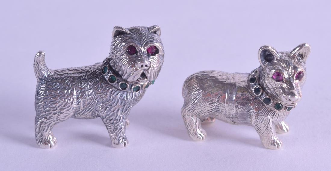 TWO NOVELTY SILVER GEM SET DOGS. (2)