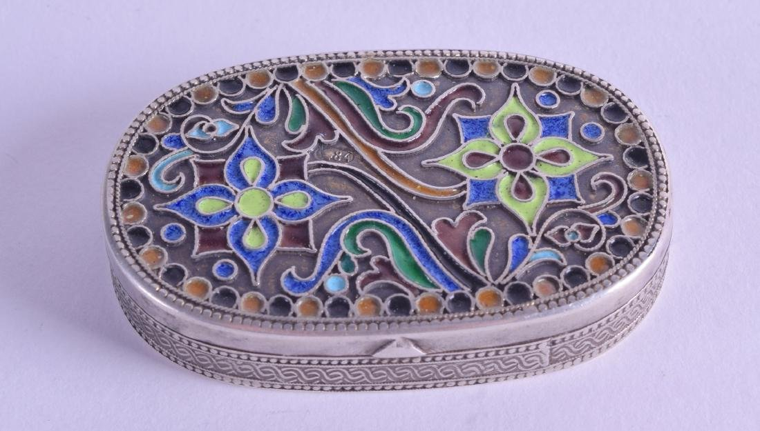A LATE 19TH CENTURY RUSSIAN SILVER AND ENAMEL SNUFF