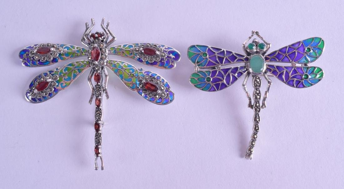 TWO LARGE SILVER AND ENAMEL DRAGONFLY BROOCHES. (2)