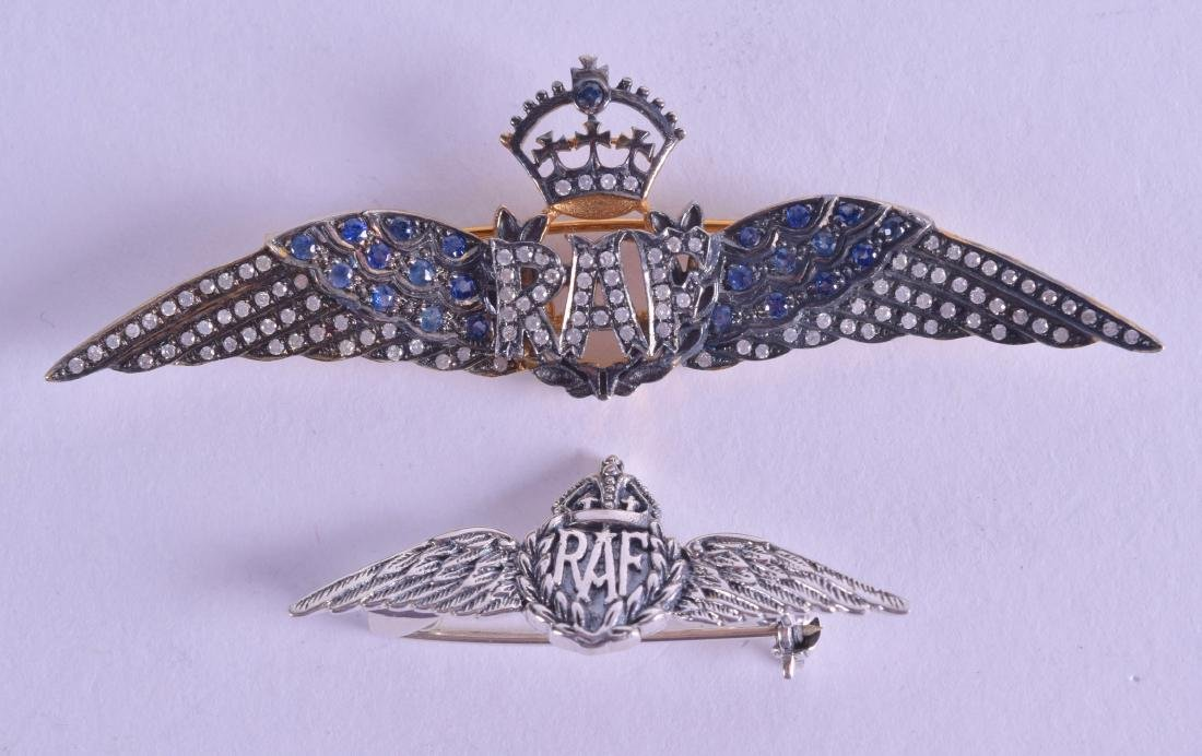 A 9CT GOLD RAF BROOCH together with a similar silver