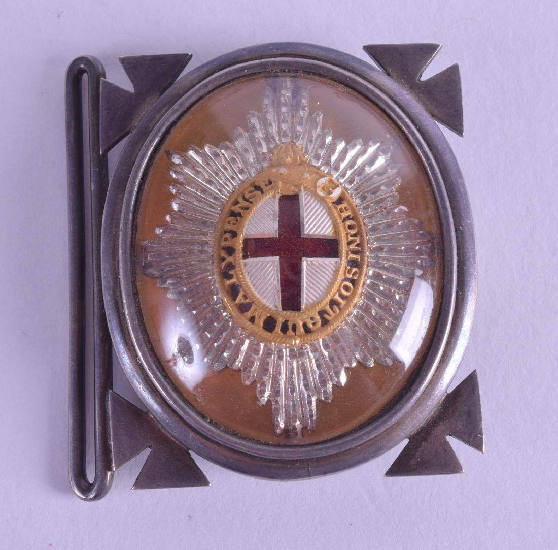 AN UNUSUAL ANTIQUE SILVER MILITARY BELT BUCKLE.