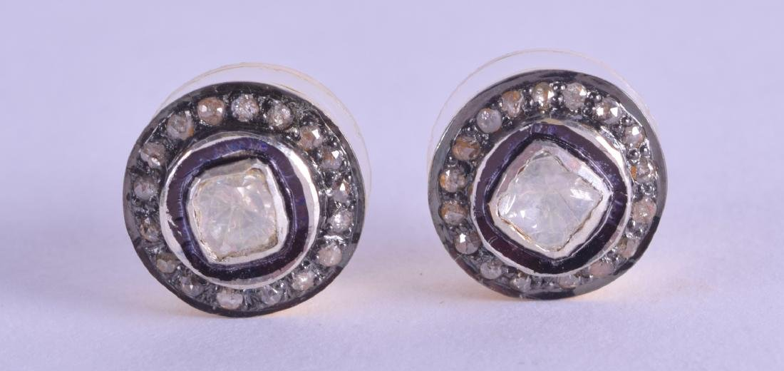 A PAIR OF 9CT GOLD AND SILVER OLD CUT DIAMOND EARRINGS.