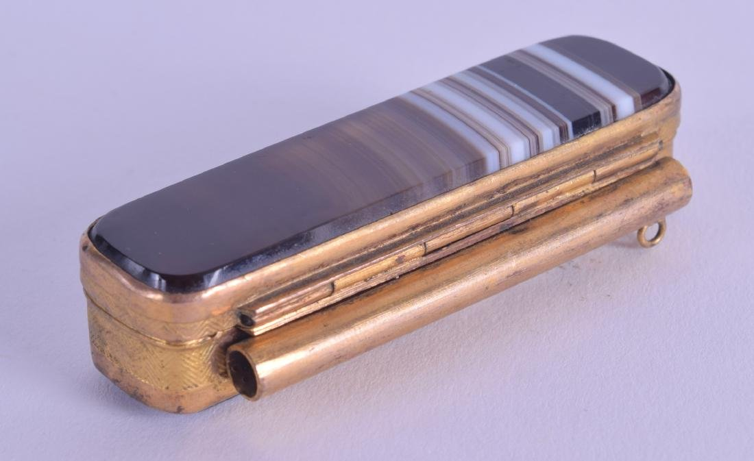 A LATE 19TH CENTURY BANDED AGATE AND BRASS SNUFF BOX of