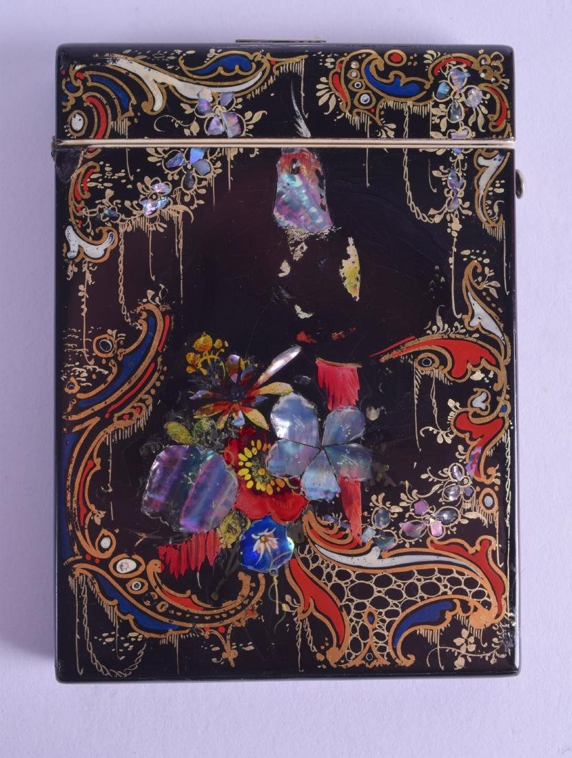 A VICTORIAN PAPIER MACHE CARD CASE painted with birds