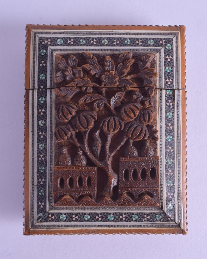 A 19TH CENTURY INDIAN CARVED SANDALWOOD MOSAIC CARD