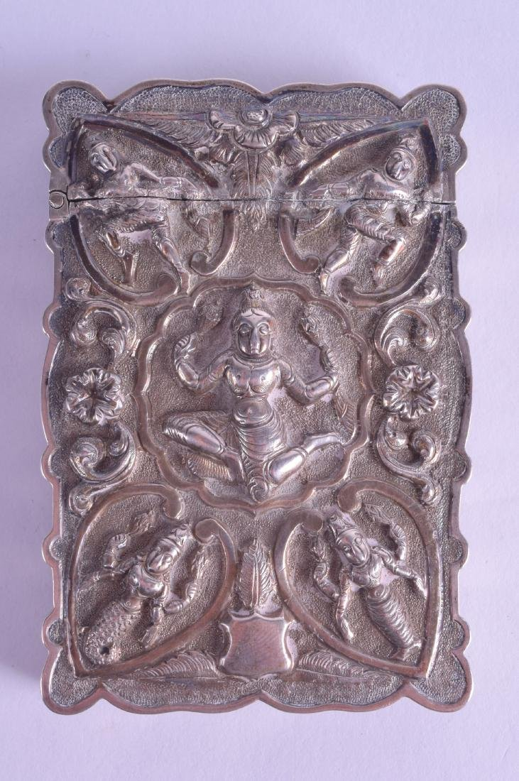 A 19TH CENTURY INDIAN SILVER CARD CASE decorated with