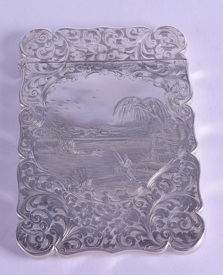 A MID 19TH CENTURY ENGRAVED SILVER CARD CASE by Edward