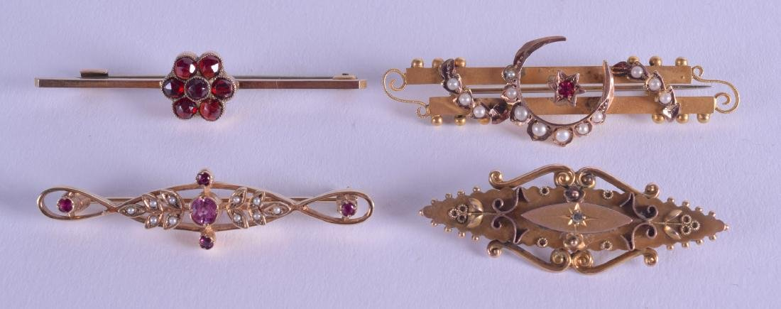 FOUR ANTIQUE GOLD BAR BROOCHES in various forms and