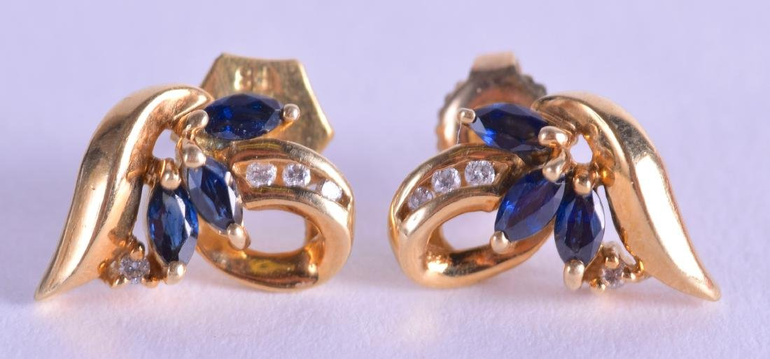 A PAIR OF 18CT GOLD DIAMOND AND SAPPHIRE EARRINGS.